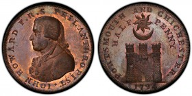 Hampshire, Portsmouth copper 1/2 Penny Token 1794 MS64 Brown PCGS, D&H-55. Bust of John Howard left / Sun and moon over castle.  HID09801242017