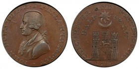 Hampshire, Portsmouth copper 1/2 Penny Token 1794 AU58 Brown PCGS, D&H-55. IOHN HOWARD F. R. S. PHILANTHROPIST. Bust left / PORTSMOUTH AND CHICHESTER....