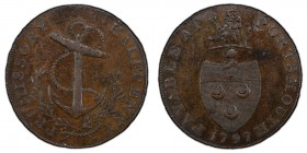 Hampshire, Portsmouth copper 1/2 Penny Token 1797 MS62 Brown PCGS, D&H-58, Conder p.42, 19, Pye p.42, 4, Virt p.218, Atkins p.40, 37. Edge: BY G. ROBI...