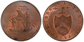 Hampshire, Portsea copper 1/2 Penny Token 1794 MS64 Brown PCGS, D&H-68. Edge: AT GEORGE EDWARD SARGEANTS PORTSEA, the remainder engrailed. PORTSEA HAL...