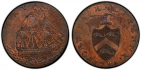 Hampshire, Portsea copper 1/2 Penny Token 1794 MS63 Brown PCGS, D&H-75. PORTSEA HALFPENNY 1794. Hand holding javelin pointed left atop shield of arms ...