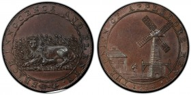 Kent, Appledore copper 1/2 Penny Token 1794 MS63 Brown PCGS, D&H-3. THE UNION OF APPLEDORE KENT. 1794. A man carrying a sack to a windmill / PEACE INN...