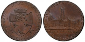 Kent, Canterbury copper 1/2 Penny Token 1794 MS65+ Brown PCGS, D&H-6. Coat of arms, mural crown above / Cathedral.   HID09801242017