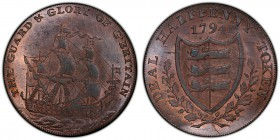 Kent, Deal copper 1/2 Penny Token 1794 MS64 Red and Brown PCGS, D&H-11. Ship / Shield with wreath, date above.  HID09801242017