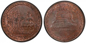 Kent, Deptford copper 1/2 Penny Token 1795 MS64 Brown PCGS, D&H-13a. Edge: PAYABLE AT DEPTFORD CHATHAM AND DOVER, Kentish men meeting William the Conq...