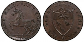 Kent Goudhurst copper 1/2 Penny Token 1794 MS64 Brown PCGS, D&H-28. Edge: PAYABLE BY W. FUGGLES. GOUDHURST ++++. KENT HALFPENNY TOKEN. The Kentish hor...