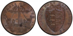 Kent, Hythe copper 1/2 Penny Token 1794 MS64 Brown PCGS, D&H-31. CINQUE PORT HALFPENNY 1794. Coat of arms / PAYABLE AT HYTH. Ship. Includes original e...