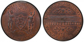 Kent, Maidstone copper 1/2 Penny Token 1795 MS64 Brown PCGS, D&H-37. Shield of arms and supporters of the borough of Maidstone, MAIDSTONE above, HALFP...