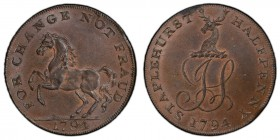 Kent, Staplehurst copper 1/2 Penny Token 1794 MS63 Brown PCGS, D&H-40. IS monogram with stag's head above / FOR CHANGE NOT FRAUD. Kentish horse.   HID...