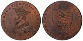 Lancashire, Lancaster copper 1/2 Penny Token 1792 MS63 Red and Brown PCGS, D&H-29d. IOHN OF GAUNT DUKE OF LANCASTER *. Crowned bust to left / LANCASTE...