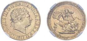 George III (1760-1820). Sovereign, 1817, laureate head. (M.1, S.3785).Slabbed and graded by NGC as AU50, certification number 4731916-004.