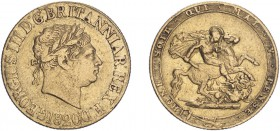 George III (1760-1820). Sovereign, 1820, laureate head. (S.3785C). Fine.