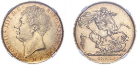 George IV (1820-1830). Two Pounds, 1823, bare head. (S.3798). Slabbed and graded by NGC as AU53, certification number 3925701-105.