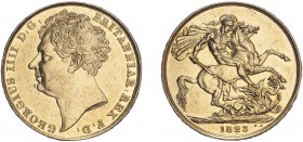 George IV (1820-1830). Two Pounds, 1823, bare head. (S.3798). Cleaned Very Fine.