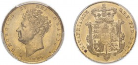 George IV (1820-1830). Sovereign, 1826, bare head. (M.11, S.3801). Slabbed and graded by PCGS as MS63.