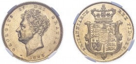 George IV (1820-1830). Sovereign, 1826, bare head. (M.11, S.3801). Slabbed and graded by NGC as AU58, certification number 4731916-009.