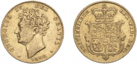 George IV (1820-1830). Half-Sovereign, 1828, bare head. (M.409, S.3804). Scratch in obverse field otherwise about Very Fine.