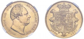 William IV (1830-1837). Sovereign, 1837, bare head, second bust. (M.21, S.3829B). Slabbed and graded by NGC as AU58, certification number 4731987-001.