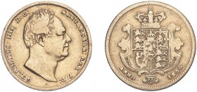 William IV (1830-1837). Half-Sovereign, 1836, obverse struck from sixpence die in error. (M.412A, S.3832). Good Fine and extremely rare with few examp...