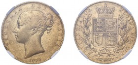 Victoria (1837-1901). Sovereign, 1839, small young head. (M.23, S.3852). Slabbed and graded by NGC as VF30.