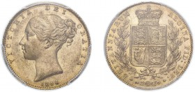 Victoria (1837-1901). Sovereign, 1846, young head. (M.29, S.3852). Slabbed and graded by PCGS as AU58.