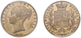 Victoria (1837-1901). Sovereign, 1847, young head. (M.30, S.3852). Slabbed and graded by PCGS as AU58.