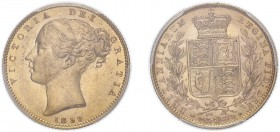 Victoria (1837-1901). Sovereign, 1850, second large head. (M.33, S.3852C). Lovely appealing specimen. Slabbed and graded by PCGS as MS62.