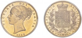 Victoria (1837-1901). Sovereign, 1856, second large head. (M.39, S.3852D). Slabbed and graded by PCGS as MS62).