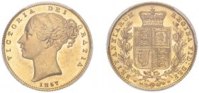Victoria (1837-1901). Sovereign, 1857, second large head. (M.40, S.3852D). Fields with prooflike characteristics both sides. Slabbed and graded by PCG...