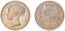 Victoria (1837-1901). Sovereign, 1871, second large head, die number 28. (M.55, S.3853B). Slabbed and graded by PCGS as MS63.
