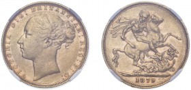 Victoria (1837-1901). Sovereign, 1879, London, St. George reverse. (M.90, S.3856A). Rare. Slabbed and graded by NGC as XF45.