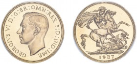 George VI (1936-1952). Two Pounds, 1937, bare head, proof issue. (S.4075). Slabbed and graded by PCGS as PR65CAM, certification number 37920698.