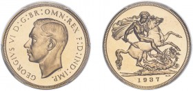 George VI (1936-1952). Sovereign, 1937, bare head, proof issue. (S.4076). Slabbed and graded by PCGS as PR64, certification number 37920697.