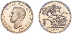 George VI (1936-1952). Sovereign, 1937, bare head, proof issue. (S.4076). Slabbed and graded by NGC as PF64.