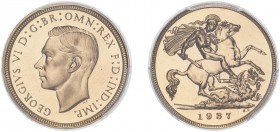 George VI (1936-1952). Half-Sovereign, 1937, bare head, proof issue. (S.4077). Slabbed and graded by PCGS as PR66, certification number 37920696.