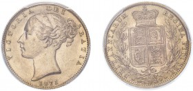 AUSTRALIA. Victoria, 1871 S, Sovereign, Sydney mint, shield reverse. (S.3855). Slabbed and graded by PCGS as MS63.
