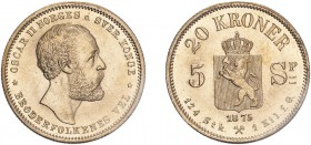 NORWAY. Oscar II. 20 Kroner, 1875, Kongsberg. (KM 348). Choice uncirculated.
