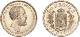 NORWAY. Oscar II. 20 Kroner, 1902, Kongsberg. (KM 355). Choice uncirculated.