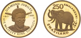 SWAZILAND. King Sobhuza II, 1981, Gold Proof 250 Emalangeni, diamond jubilee issue. 15.98g, 22ct gold. Some light spotting otherwise Brilliant Proof i...