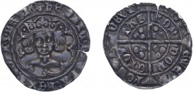 Henry VI (First Reign, 1422-1461), Groat, Leaf-pellet issue, London, mm. cross IIIb on obverse only. 3.84g. (N.1505, S.1917). Edge split otherwise Ver...