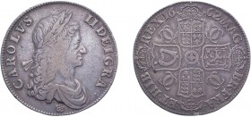 Charles II (1660-1685). Crown, 1662, rose below bust, edge dated, 9 strings to harp. (ESC 344, S.3551). Good Fine.