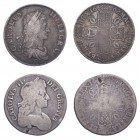 Charles II (1660-1685). Crowns (2), 1662 rose below bust, 1679 third bust, edge T.PRIMO. (ESC 339, 403, S.3350, 3358). Fair to Fine.