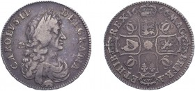 Charles II (1660-1685). Halfcrown, 1666/4, third bust, elephant below bust, edge XVIII. (ESC 447, S.3364). Good Fine, very rare.