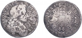 Charles II (1660-1685). Halfcrown, 1682, fourth bust, edge T.QVARTO. (ESC 493, S.3367). Surface marks, Fair. Rare.