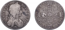 Charles II (1660-1685). Shilling, 1666, first bust, elephant below bust. (ESC 507, S.3373). Only about fine and with a scrape on obverse but very rare...