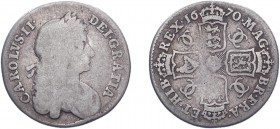 Charles II (1660-1685). Shilling, 1670, second bust, 8 strings to harp. (ESC 517, S.3375). Fair, rare.