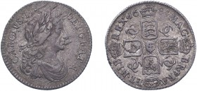 Charles II (1660-1685). Sixpence, 1684, Dr. bust, 4 strings to harp. (ESC 581, S.3382). Slight weakness by date otherwise about Very Fine.