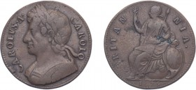 Charles II (1660-1685). Halfpenny, 1675, Cuir. bust. (BMC 516, S.3393). Edge struck upright rather than en Medaille as usually found. Light deposit on...