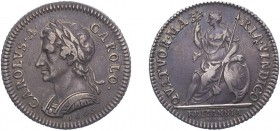 Charles II (1660-1685). Farthing, 1665, Silver pattern by J.Roettier, date under bust. (BMC 407). Good Very Fine and attractively toned.