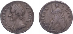 Charles II (1660-1685). Farthing, 1672, Cuir. bust. (BMC 519, S.3394). Struck on a heavy flan of 6.8 grams. Fine or better.